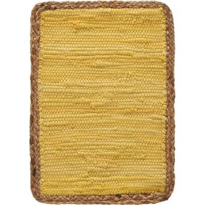 Sunny Day 19 in. x 13 in. Yellow Jute Bordered Cotton Placemat (Set of 4)