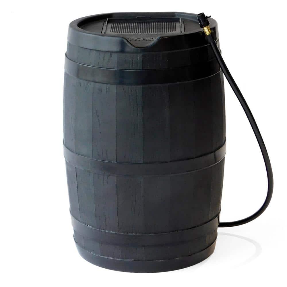 FCMP Outdoor RC4000-BLK 45-Gallon BPA Free Home Rain Water Catcher Barrel Black