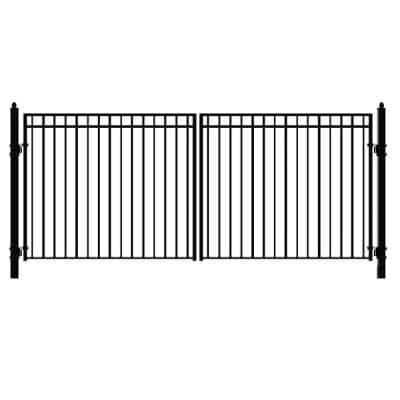 Madrid 16 ft. x 6 ft. Black Steel Dual Driveway Fence Gate