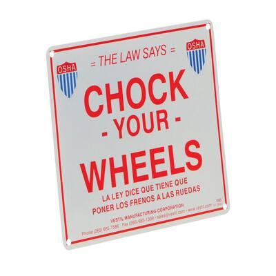 9.75 in. Aluminum Enamel Wheel Chock Sign
