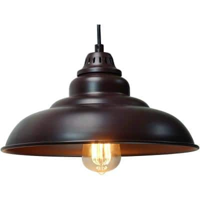 1-Light Black Brushed Nickel Pendant Industrial Hanging Fixture with Aluminum Shade