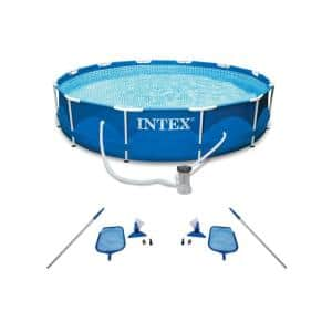 Round 10 ft. Metal Frame Swimming Pool with Filter Pump and Pool Cleaning Kit (2-Pack) 30 in. H