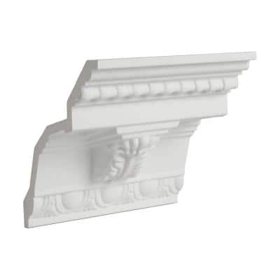 5-1/4 in. x 5-3/8 in. x 6 in. Long Acanthus Leaf Corbel with Egg and Dart Polyurethane Crown Moulding Sample