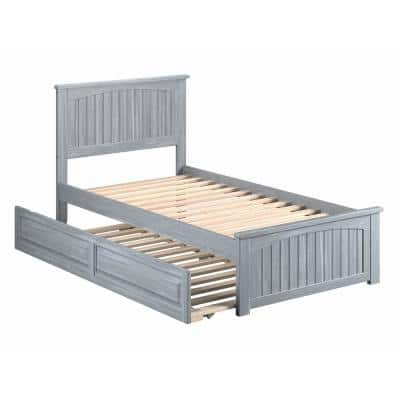 Nantucket Twin Bed with Matching Footboard and Twin Raised Panel Trundle in Driftwood