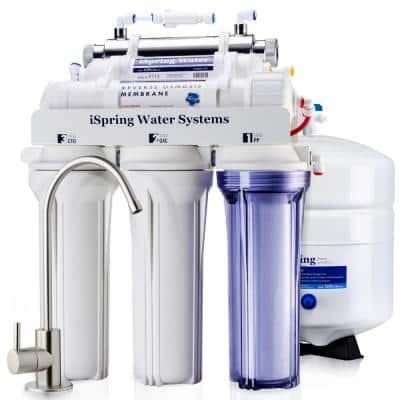 RCC7U 6-Stage with UV Water Filter 75GPD Under Sink Reverse Osmosis Drinking Water Filtration System