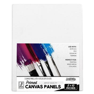 8 in. x 10 in. Premium White Primed Artist Canvas Panel Boards (3-Pack)