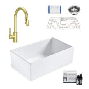 Bradstreet II All-in-One Satin Gold  Fireclay 30 in. Single Bowl Farmhouse Kitchen Sink with Pfister Stellen Faucet