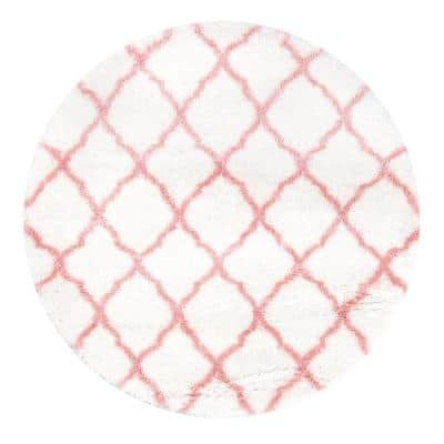 Nelda Trellis Shag Baby Pink 5' Round Rug