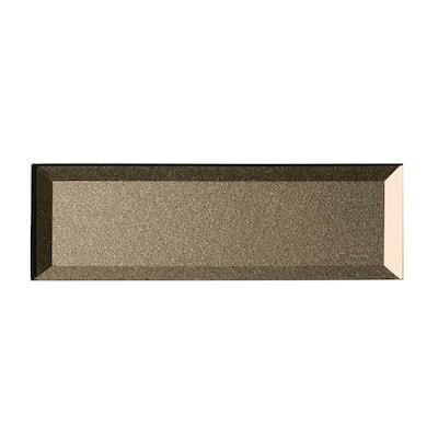 Forever Bronze Inner Beveled Subway 3 in. x 12 in. Glossy Metallic Glass Wall Tile (4Pk)