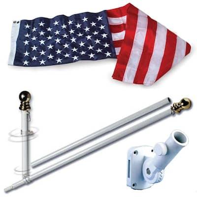 3 ft. x 5 ft. Embroidered Nylon Flag and 5 ft. Spinning Flag Pole U.S. Flag Set