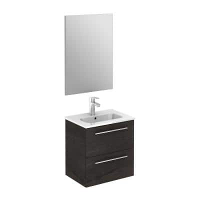 Street pack 20 in. W x 14 in. D Vanity in Essence Wenge with Vanity Top in White with White Basin and Mirror
