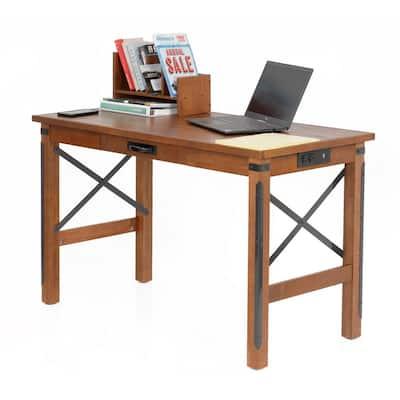 Industrial Series 48 in. Rectangular Hewn Pallet Wood Veneer One Drawer Writing Desk with Organizing Hutch