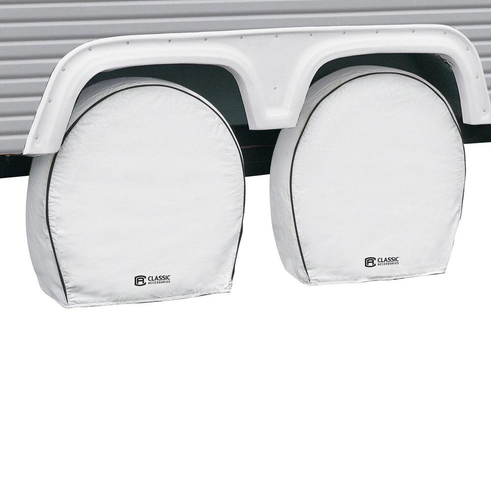 "White Deluxe RV Wheel Cover, 33"" - 36"" Diameter, 9"" Tire width"