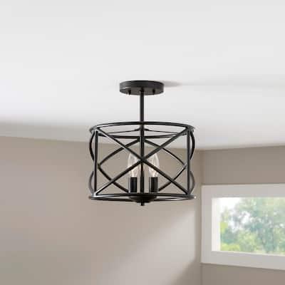 Hastings 12 in. 2-Light Satin Bronze Ceiling Semi-Flush Mount Light