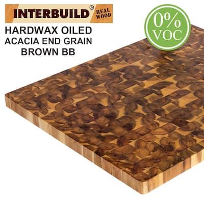 Acacia 32 in. L x 25.6 in. D x 1.6 in. T Butcher Block Countertop in Brown Wood Oil Stain
