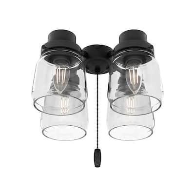 Original 4-Light Matte Black Ceiling Fan Shades LED Light Kit