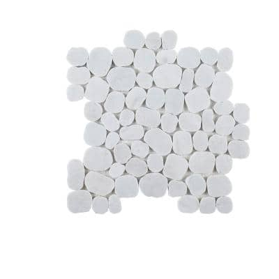 Sand Dollar White Pebble 11.75 in. x 11.75 in. Polished Marble Wall and Floor Mosaic Tile (0.958 sq. ft./Each)