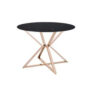 Kapela 41.5 in. Gold and Black Round Dining Table