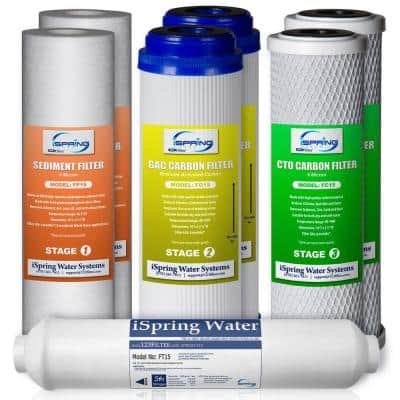 1-Year Replacement Supply Filter Cartridge Pack Set for Standard 5-Stage Reverse Osmosis RO Systems