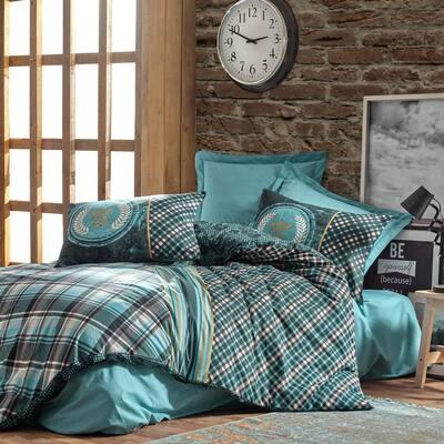 Black Green Stripes Cotton Duvet Cover Set, Full Size Duvet Cover, 1-Duvet Cover, 1-Fitted Sheet and 2-Pillowcases Teal