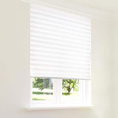 Cut-to-Size Refresh White Cordless Light-Filtering Easy to Install Paper Temporary Pleated Shades 36 in. W x 72 in. L