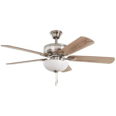 Rothley II 52 in. Brushed Nickel Smart LED Ceiling Fan with Light and Remote Works with Google Assistant and Alexa