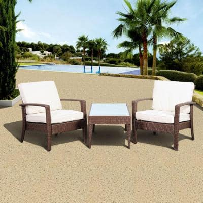 Florida Deluxe Brown 3-Piece All-Weather Wicker Patio Conversation Set with Off-White Cushions