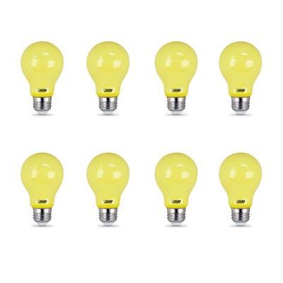 5-Watt A19 60-Watt Equivalent Medium E26 Base Non-Dimmable Yellow Colored LED Bug Light Bulb (8-Pack)