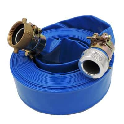 1-1/2 in. Dia. x 50 ft. Blue 6 Bar Heavy Duty Lay Flat Hose with Connectors
