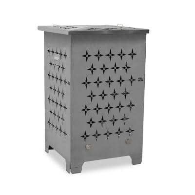 22 in. W x 32 in. H Rectangular Steel Wood Burn CageFire Pit with Lid