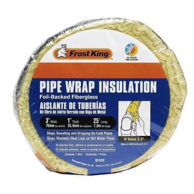 3 in. x 25 ft. Foil Backed Fiberglass Pipe Wrap Insulation