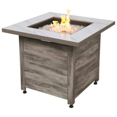 30 in. W x 24 in. H Outdoor Square Steel Frame LP Gas White Fire Pit with Piezo Ignition Fire Glass and Cover