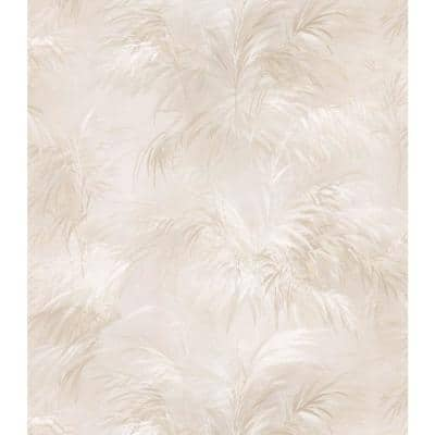Palm Fern Beige Textures Pattern Vinyl Pre-Pasted Wallpaper Roll (Covers 56.4 Sq. Ft.)