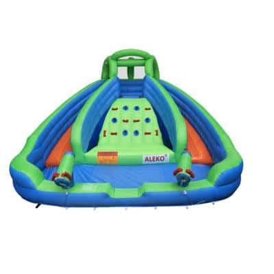 Island Water Slide Bounce House with Climbing Wall and Blower