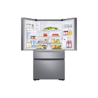 22.2 cu. Ft. Family Hub 4-Door French Door Recessed Handle Smart Refrigerator in Stainless Steel, Counter Depth