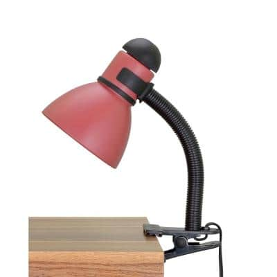 16 in. Black and Burgundy Clip Lamp with Metal Lamp Shade and Rotary Switch