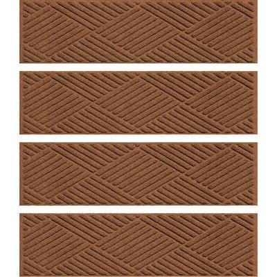 Aqua Shield Diamonds 8.5 in. x 30 in. Stair Treads (Set of 4) Dark Brown