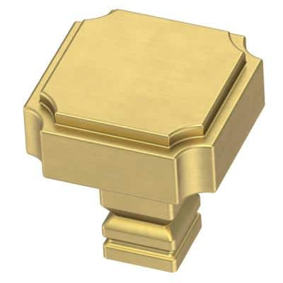 Notched 1-1/8 in. (28mm) Brushed Brass Cabinet Knob