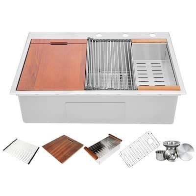 Ariel 16-Gauge Stainless Steel 33 in. Single Bowl Drop-In Workstation Kitchen Sink with Accessories