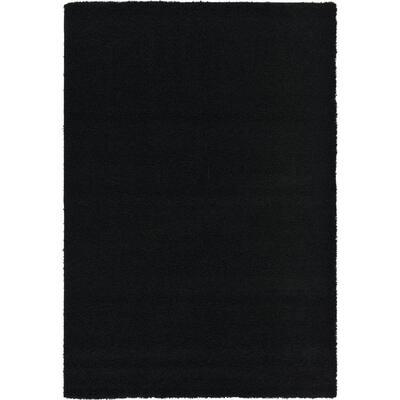 Solid Shag Jet Black 6 ft. x 9 ft. Area Rug