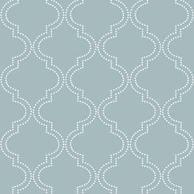 Slate Blue Quatrefoil Blues Wallpaper Sample