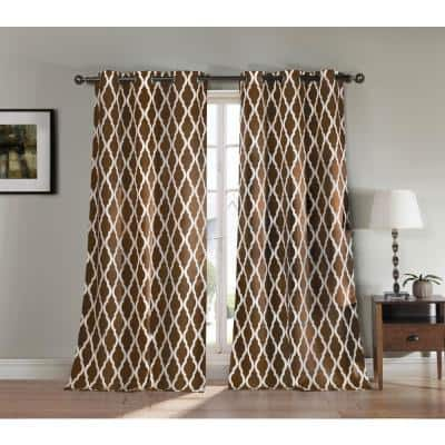 Chocolate Trellis Thermal Blackout Curtain - 38 in. W x 112 in. L (Set of 2)