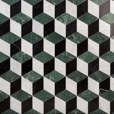Joelle Verde 8 in. x 9.21 in. Polished Marble Floor and Wall Mosaic Tile (0.51 sq. ft./Each)