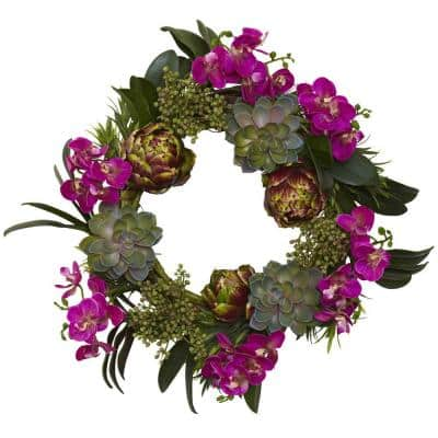 20 in. Orchid, Artichoke and Succulent Wreath