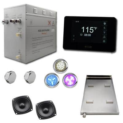 Superior SMART 12kW Self-Draining Steam Bath Generator Kit, Wi-Fi Keypad in Black, Chrome Steam Outlet and 2 Speakers