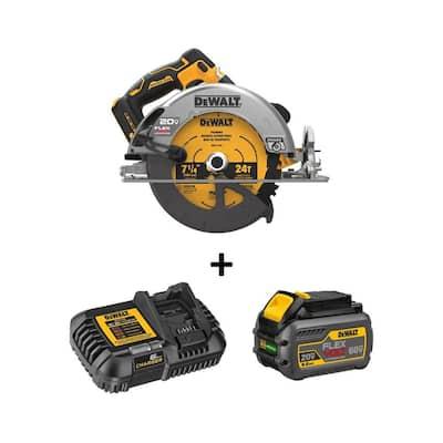 20-Volt MAX Cordless Brushless 7-1/4 in. Circular Saw with FLEXVOLT ADVANTAGE and (1) FLEXVOLT 6.0Ah Battery Kit