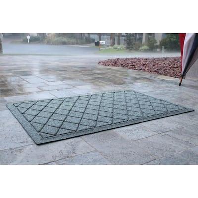 Aqua Shield Argyle Bluestone 23 in. x 35 in. Recycled Polyester/Rubber Indoor Outdoor Door Mat