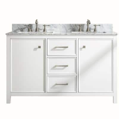 54 in. W x 22 in. D Vanity in White with Marble Vanity Top in White with White Basin with Backsplash