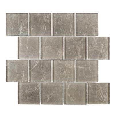 Golden Valley 11.5 in. x 11.5 in. Interlocking Glossy Glass Mosaic Tile (0.918 sq. ft./Each)