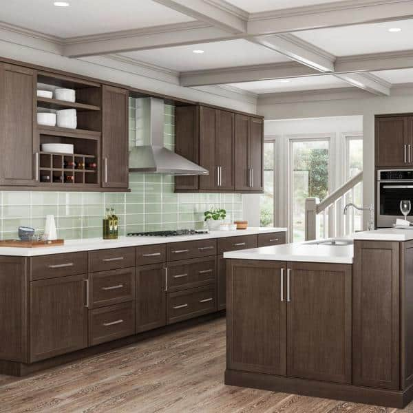 Hampton Bay Shaker Assembled 36x34 5x24 In Base Kitchen Cabinet With Ball Bearing Drawer Glides In Brindle Kb36 Bdl The Home Depot